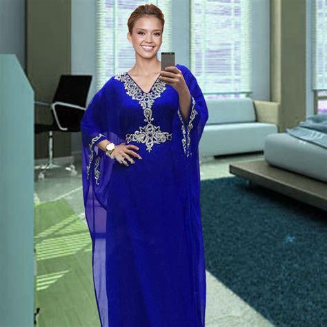 caftan robe soire 2016 robe de soiree courte 2017 royal blue chiffon dubai kaftan