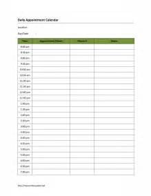 Daily appointment calendar template free microsoft word templates