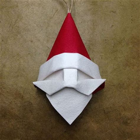 Simple Origami Santa Claus - origami santa ornament