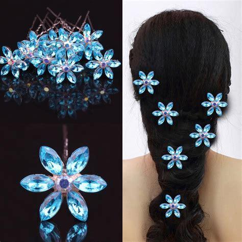 Hair Clip Hairpin Wedding Accessories Snowflakes Hiasan Rambut Pesta luxury rhinestone blue snowflake wedding bridal hair maker