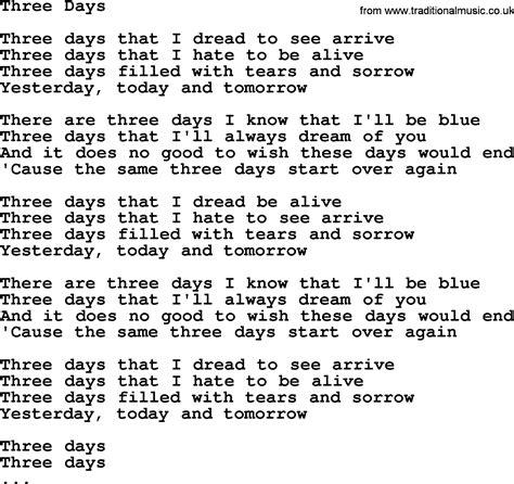 song lyrics willie nelson willie nelson song three days lyrics