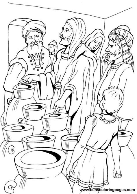 jesus turns water into wine coloring pages coloring home