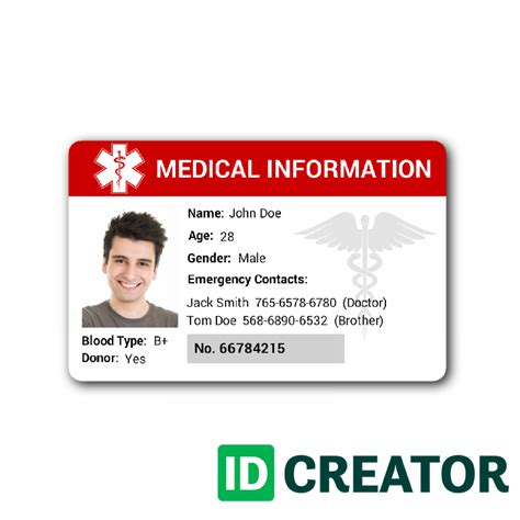 free printable medical id cards medical id badge ships same day from idcreator