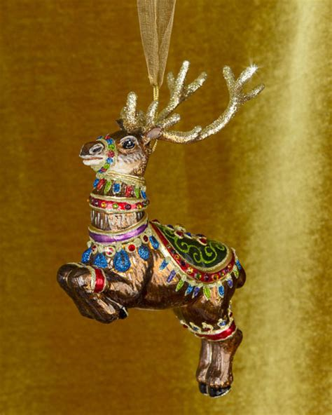 jay strongwater dasher reindeer glass christmas ornament