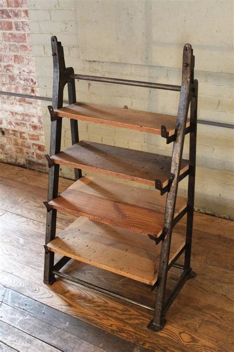 iron and wood bookcase vintage industrial custom factory cast iron wood shelving