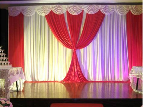 Beautiful 6X3M Ready Made White Red Wedding backdrop with pleated swags for wedding ceremony on