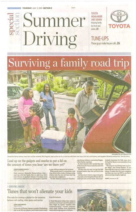 saturday star travel section toronto star article surviving a family road trip