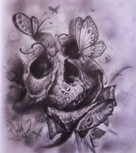skull butterfly rose tattoo skulls and butterflies animal skull 3 dead roses 5