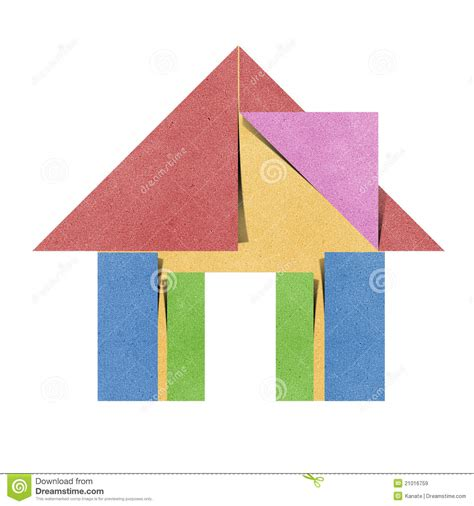 Origami Papercraft - royalty free stock images house origami recycled