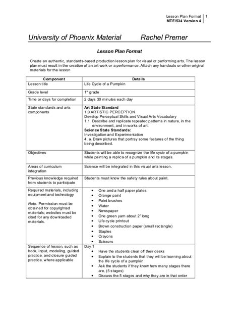 lesson plan template york university pumpkin lesson plan