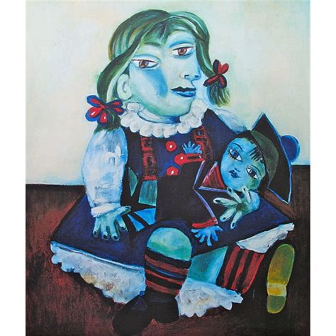 picasso paintings with doll picasso pablo with doll signed and numbered print