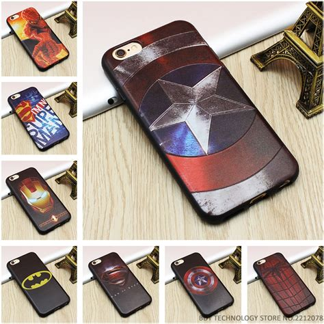 Casing Iphone 6 Plus Mirror Marvel Heroes Silicon Cover marvel 3d emboss soft tpu luxury silicone phone cases for iphone 5 5s se 6 6s 7 plus