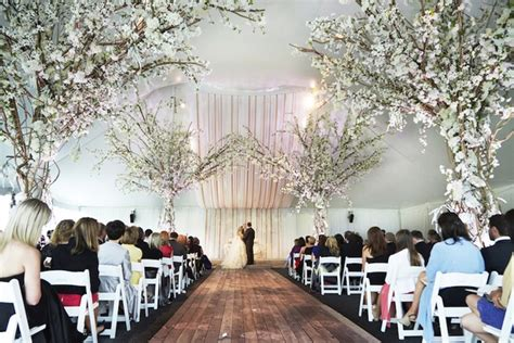 Wedding Aisle Trees by Luxurious Summer Tent Wedding On Lake Michigan In Chicago