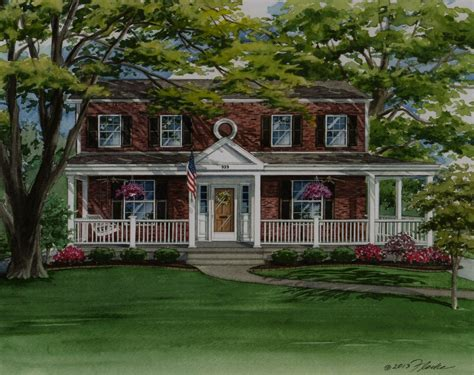 colonial farmhouse wrap around porch arch dsgn red brick two story house with front porch new build