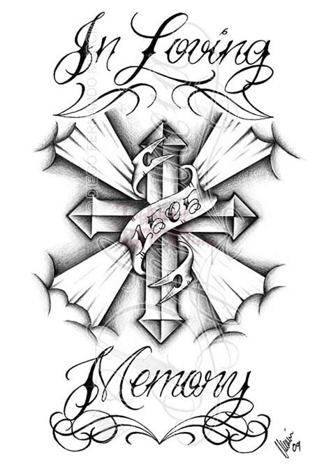 memorial cross banner tattoo design