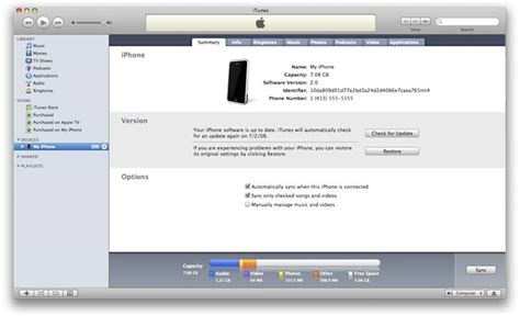 devices section in itunes iphone installation