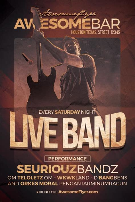 Live Band Flyer Template Flyer For Rock Concerts Bar And Pub Events Band Flyer Template