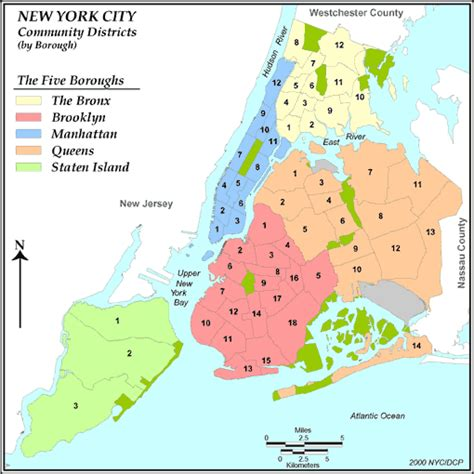 district map of nyc new york community districts ranked by 2000 population density