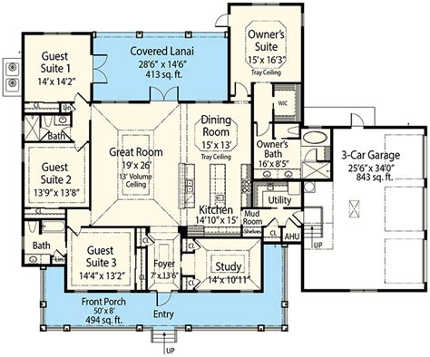 one bedroom study 3d floor plan net zero village 4 beds home plan with 50 wide front porch 33170zr 1st