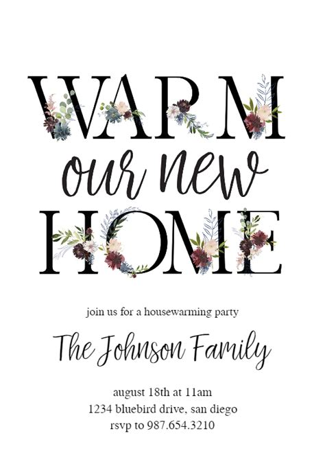 floral letters housewarming invitation template