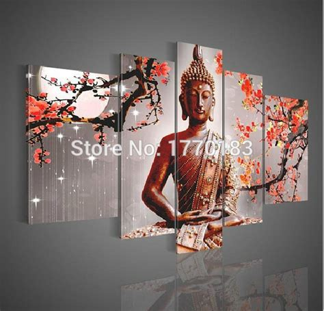 100 monochrome home decor 2015 wall decal buddha hand made 5 panel sitting buddha oil painting chinese