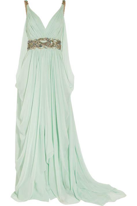 Marchesa Silk Chiffon Gown by Marchesa Embellished Silk Chiffon Gown In Green