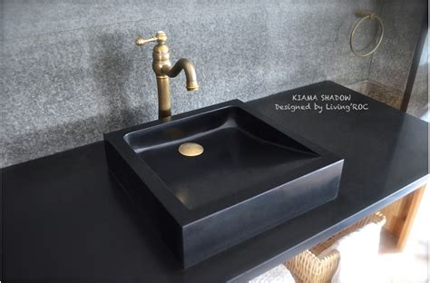 Granite Bathroom Sink 16 Quot X16 Quot Black Granite Bathroom Vessel Sinks Kiama Shadow