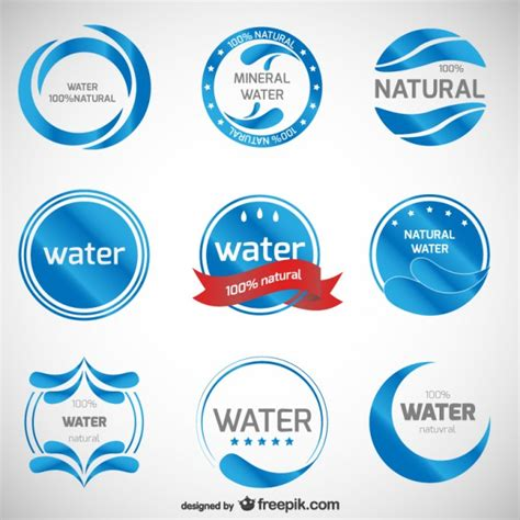 water label design vector mineral water logos collection vector free download