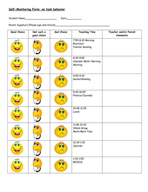 7 Best Images Of Printable Behavior Charts For Students Free Printable Behavior Chart Daily Behavior Chart Template