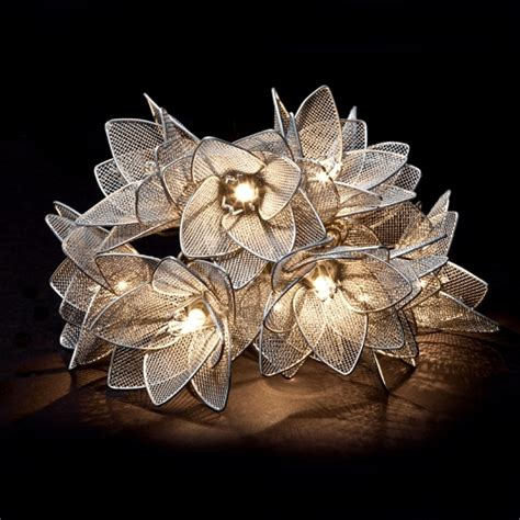 metal silver flowers hanging light string