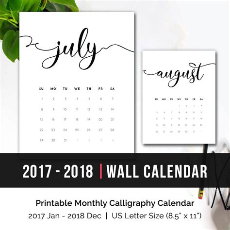 desk calendar 2017 2018 2017 2018 printable monthly calendar 2018 monthly wall