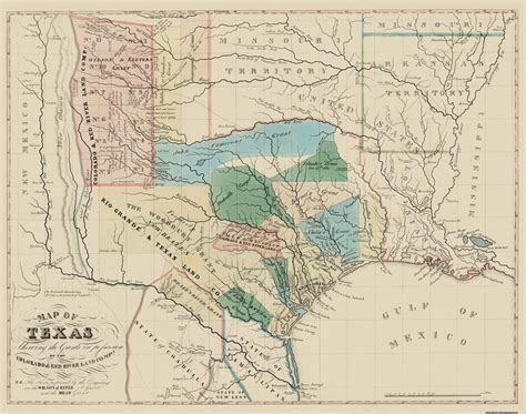 texas land grants map state map texas colorado with river land grants 1821 29 x 23 ebay