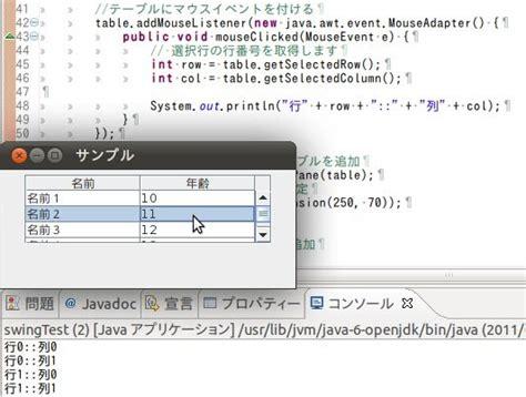javax swing jtable java メモ クリックされたセルを取得