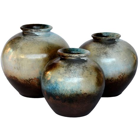 Brown Decorative Vase Olla Brown Vases Set Of 3