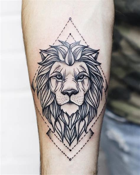 geometric lion tattoo geometric on leg calf