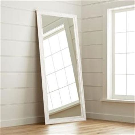 new interior 32 in x 65 in weathered white floor mirror