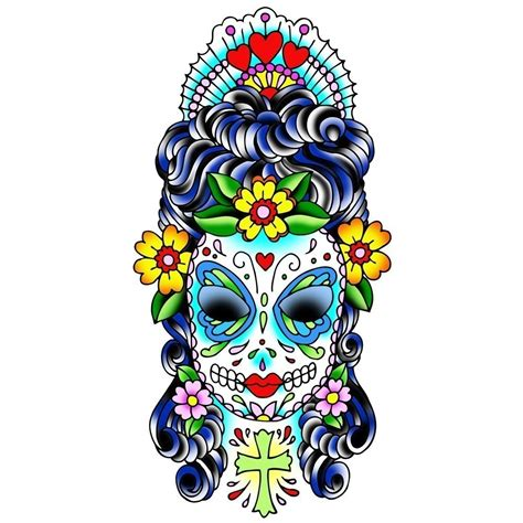 sugar skull lady tattoo designs bodyarts sugar skull