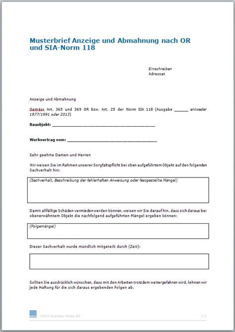 Musterbrief Vorlage Schweiz Musterbrief Anzeige Und Abmahnung Nach Or Und Sia Norm 118