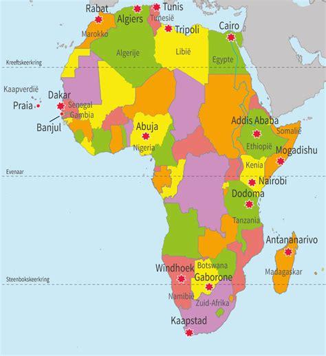 onlineklas topo topografie groep 8 afrika steden hoofdsteden van