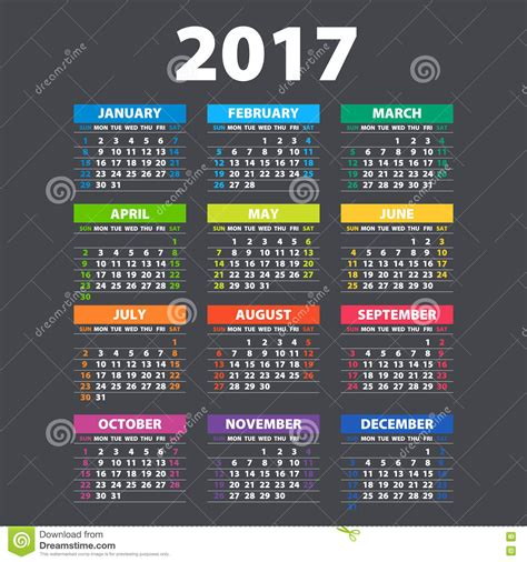 color of 2017 2017 calendar illustration vector template of color 2017