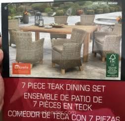 Sunbrella Patio Furniture Costco Sunbrella 7 Piece Teak Dining Set Costco Weekender