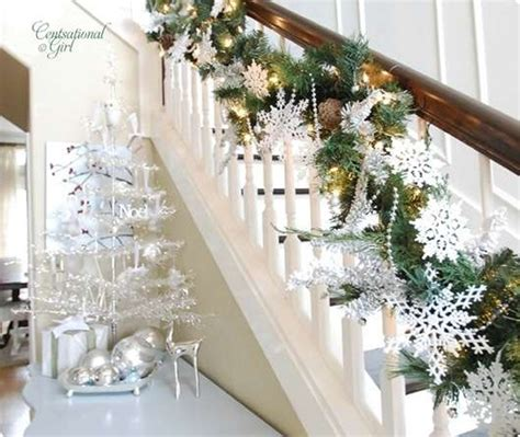 garland ideas beautiful christmas stair garland ideas