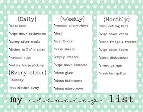 printable daily weekly monthly cleaning schedule daily weekly monthly cleaning schedule pinterest