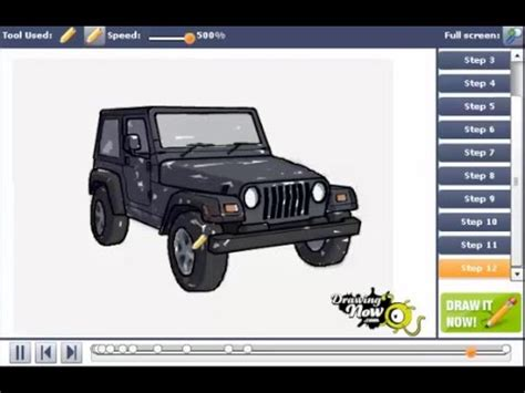 jeep drawing easy how to draw a jeep wrangler suv easy simple by