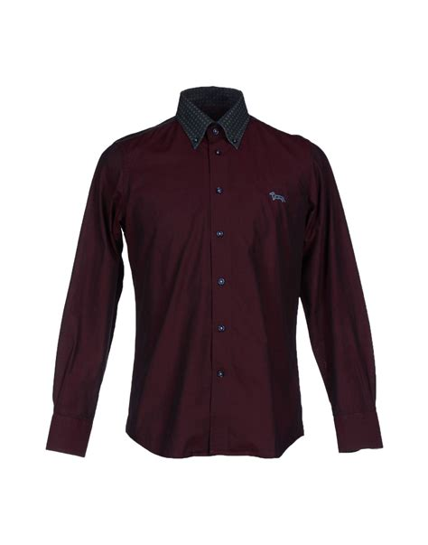 harmont blaine shirt in for maroon lyst