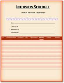 5 interview schedule templates download word pdf format