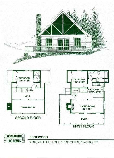 Cabin Floor Plans by Log Home Package Kits Log Cabin Kits Edgewood Model