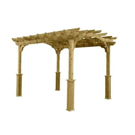 10 Ft X 12 Ft Wood Pergola Pa1012 The Home Depot Pergolas Home Depot