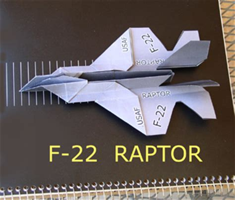 Origami F 22 Raptor - paper airplane template out of darkness