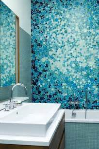 blue bubble mosaic tiles bathroom design ideas